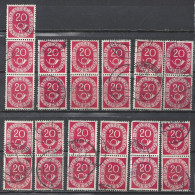 Deutschland BRD 1951 Michel 130, Yvert 16, 25 X Gestempelt, 11 Senkrechte 2er-Streifen, 1 Dreierstreifen, 20 Pf Posthorn - BRD