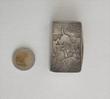 Boite Pilule à Priser Scène Chasse Chien Renard Argent Massif Birmingham 1903 - Boîtes/Coffrets