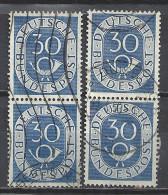 Deutschland BRD 1951 Michel 132, Yvert 18, 2 Senkrechte Zweierstreifen Gestempelt, 30 Pf Posthorn - BRD