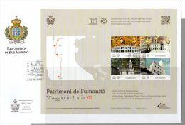 FDC SAN MARINO 2014 PATRIMONI DELL'UMANITA VIAGGIO IN ITALIA - Patrimoine DE L'humanité VOYAGER EN ITALIE FACIAL 6.90 EU - UNESCO