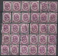 Deutschland BRD 1951 Michel Nr. 133, Yvert No. 19, 30x Gestempelt Undurchsucht, 40 Pf Posthorn - BRD
