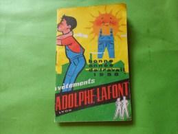 Calendrier 1958 Publicite  Adolphe Lafont -vetements Schmitt Aubert A Niort - Calendriers