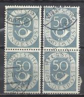 Deutschland BRD 1951 Michel 134, Yvert 20, 2 Senkrechte Zweierstreifen Gestempelt, 50 Pf Posthorn - BRD