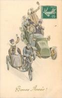 Illustrateur Style Viennoise, Couples Dans Un Vieux Tacot Et Couple Sur Un Vieux Side-car - 1900-1949
