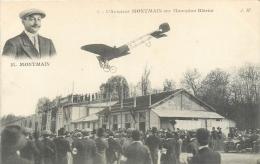 Aviation, Montmain Sur Monoplan Blériot, Voir Bâtiment, Foule, Tacot..., Carte Pas Très Courante - Aviatori