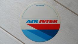 """(Autocollant Publicitaire - Aviation...) -  Lot De 2 Autocollants """" AIR INTER """"  (1 Logo + 1 Airbus A300.....voir Scans) - Autocollants"""