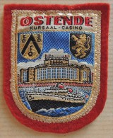 Patch Écusson Tissu Touristique : Belgique Ostende - Armoiries - Le Casino - Paquebot - Ecussons Tissu