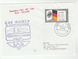 1990 GERMANY  SCHNELLBOOTGESCHWADER S66 GRIEF COVER Illus SHIP & PEGASUS WINGED HORSE With MARINESCHIFFSPOST Pmk Stamps - Mythology