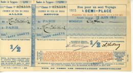 Somme 80 Chemin de fer du Nord Bon pour un seul voyage � demi prix Paris � Montdidier 11x21cm 1911