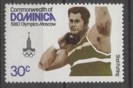Dominica 1980 - Giochi Olimpici Mosca Olympic Games Moscow Lancio Del Peso Shot Put MNH ** - Dominica (1978-...)