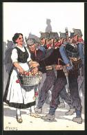 Künstler-AK Carl Moos: Schweizerische Grenzbesetzung 1914, Schweizerin Verteilt Äpfel An Soldaten In Uniform - Militaria