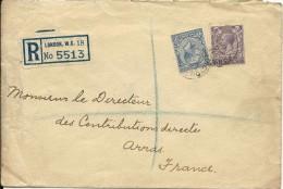 COURRIER ENVELOPPE  ROYAUME UNI LETTRE RECOMMANDEE  CIRCULEE 1934 LONDRES ARRAS - Royaume-Uni