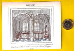 BRUGES 1843 TOMBEAUX DE CHARLES LE TEMERAIRE ET DE MARIE DE BOURGOGNE BRUGGE CARTE PORCELAINE PORSELEINKAART Litho P187 - Documentos Históricos