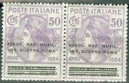 1924 Parastatali Sovrastampati Assoc. Naz. Mutil. Inv. Guerra Roma 50c MNH** - 1900-44 Victor Emmanuel III