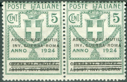 1924 Parastatali Sovrastampati Assoc. Naz. Mutil. Inv. Guerra Roma 5 C MNH** - 1900-44 Victor Emmanuel III