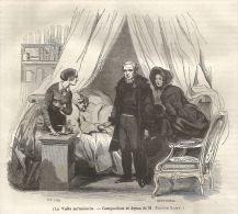 A5097 La Visita Del Medico Di Famiglia - Xilografia - Stampa Del 1843 - Prints & Engravings