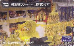 Carte Japon - YAS - CARNAVAL de Rio - Lion Festival - Carnival Brasil rel. Japan card Karneval L�we avion - 74