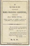 KUURNE / KORTRIJK - Zeer Oud Doodsprentje CARPENTIER Maria-Francisca - Overleden 1839 - (Wed. COUCKE Thomas) - Santini