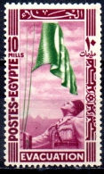 EGYPT 1947 Withdrawal Of British Troops From Nile Delta - 10m King Farouk Hoisting Flag MNH - Nuovi