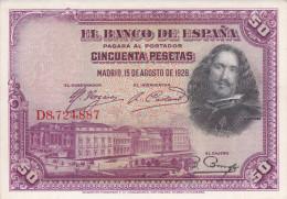 BILLETE DE ESPAÑA DE 50 PTAS DEL AÑO 1928 SERIED  EBC - [ 1] …-1931 : Primeros Billetes (Banco De España)