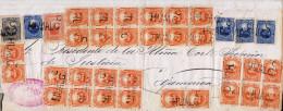 """G)1874 PERU, COAT OF ARMS 5 CTS, """"JUZGADO DE LA 1a INSTANCIA DE JUSTICIA DE HUALGAYOC"""" READ SEAL-HUALG LINEAL BLACK CANC - Peru"""