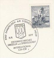 1977 AUSTRIA COVER (card) EVENT Pmk INTERNATIONAL DRESSAGE & SPRING DERBY Saalfelden HORSE Horses Sport Equestrian Stamp - Horses