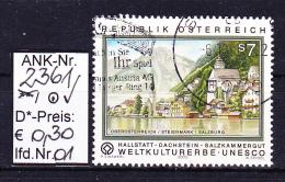 "15.9.2000 -  SM  ""Weltkulturerbe UNESCO - Hallstatt""  -  O Gestempelt  -  Siehe Scan (2361o 01-06) - 1945-.... 2ème République"