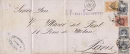 G)1886 PERU, SUN GOD OF THE INCAS-COAT OF ARMS, VALAIS A PARIS OCT. SEAL, CIRCULATED COVER TO PARIS VIA PANAMA AND SOUTH - Peru