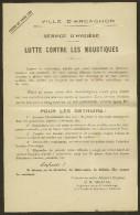 """Affichette Ann�es 30  """"LUTTE CONTRE LES MOUSTIQUES"""" de la Ville d�Arcachon du Dr SIGALAS  (33)"""