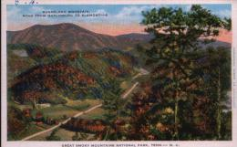 POST CARD SUGARLAND MOUNTAIN, ROAD FROM GATLINBURG TO ELKMONT, TENNESSEE - Smokey Mountains
