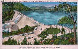 POST CARD T.V.A. PROPOSED NORRIS DAM AND LAKE ON CLINCH RIVER, NEAR KNOXVILLE TENNESSEE - Etats-Unis