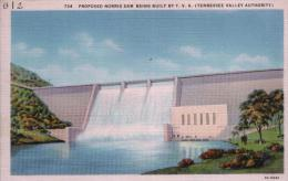 POST CARD NORRIS DAM BEING BUILT BY T.V.A (TENNESSEE VALLEY AUTHORITY) - Etats-Unis