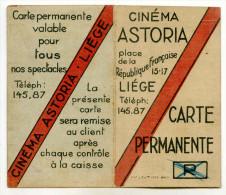 Carte Permanente - Cinéma ASTORIA, Place De La République Française à LIEGE- Valable Pour 1933-1934 - Merchandising