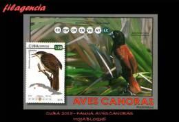 AMERICA. CUBA MINT. 2015 FAUNA. AVES CANORAS. HOJA BLOQUE - Neufs
