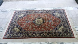 NAIN - Tapis Crème Bordeaux Et Bleu - Superbe Qualité 9LA Laine/soie Chaîne Coton - Rugs, Carpets & Tapestry