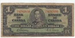 Canada #58d 1 Dollar 1937 Banknote Currency Money - Canada