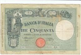 Italy #64 50 Lire, Banca D'Italia, 1943 Banknote Currency Money - [ 1] …-1946 : Koninkrijk