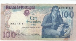 Portugal #178b 100 Escudos, 1981 Banknote Currency Money - Portugal