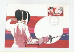 USA Maxikarte Ersttagsbeleg Olympische Spiele Los Angeles 1984(Fechten) - Summer 1984: Los Angeles