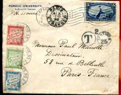 79160 B - 1 TP, Tarif  5 C, OMEC LAFAYETTE Aug  1898 Avec Cachet T Pour La FRANCE Et  3 Timbres Taxe TB - 1847-99 Emissions Générales