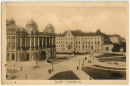 Zagreb Sveucilisni Trg Old Censored Postcard Travelled 1916 Bb - Croazia