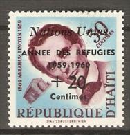HAITI.    1959.   Y&T N° 419 *.    A. Lincoln.  Surchargé.   Année Des Réfugiés - Haiti