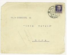 ITALIA REGNO - STORIA POSTALE - FRONTE LETTERA PER LEGA NAVALE ITALIANA  ROMA - ANNO 1942 POSTA MILITARE - Marcofilía