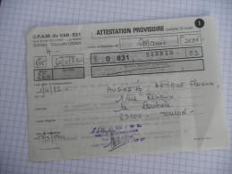 Toulon - CPAM Du VAr - Attestation 1982 - Old Paper