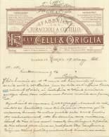 FACTURE LETTRE : TORINO . CELLI ET ORIGLIA . 1885 . - Italie