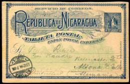 NICARAGUA STATIONERY 1894 CORINTO GERMANY PALM TREE SHIP MOUNTAIN - Nicaragua