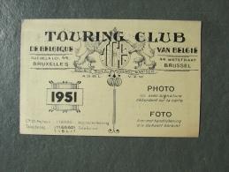 Auto Carte De Sociétaire Touring Club Belgique 1951 - Automobile