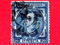 SPAGNA - Usato - 1876 - Re Alfonso XII - Ritratto Rivolto In Avanti - 10 - 1875-1882 Regno: Alfonso XII