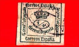 SPAGNA - Usato - 1877 - Corona Reale - Royal Crown - Decent De Peseta - 1/4 - 1875-1882 Regno: Alfonso XII