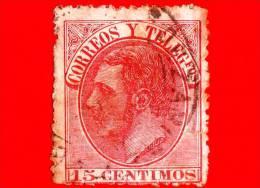 SPAGNA - Usato - 1882 - Re Alfonso XII - Ritratto Rivolto A Sinistra - Scritta CORREOS Y TELEGfos - 15 - 1875-1882 Regno: Alfonso XII